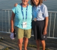 Rosemary and Jenny after 3K swim in 1976 Olympic rowing basin